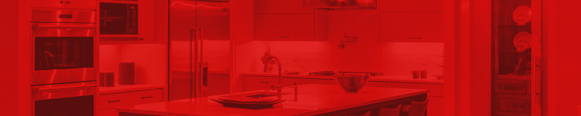 Kitchen view with red color overlay