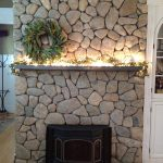 Natural stone fireplace front view