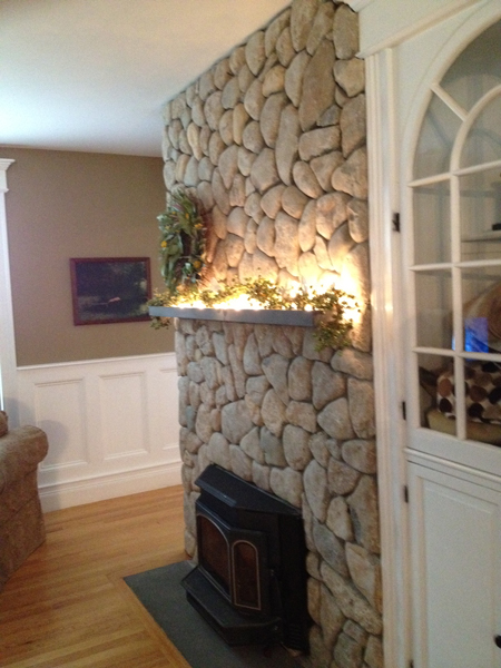 Natural stone fireplace side view