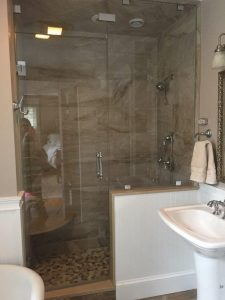 Stone tile walkin shower